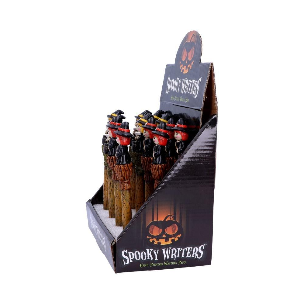 Spooky Writers Witch Pens (Display Of 12) 16cm Witchcraft Wiccan Pen