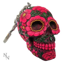 Load image into Gallery viewer, Sugar Blossom Keyrings 6cm (Pack Of 6) Skull Keyrings