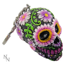 Load image into Gallery viewer, Sugar Petal Keyrings 6cm (Pack Of 6) Skull Keyrings