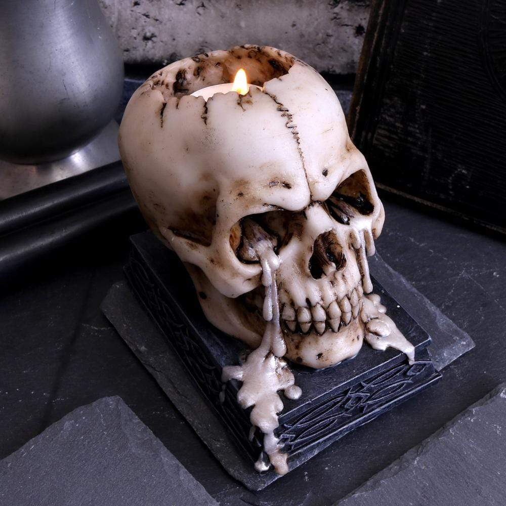 Tears Of Time 10cm Skull Candle/Tealight Holder