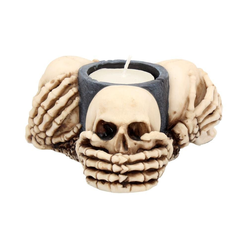Three Wise Skulls Tealight Holder 11cm Skull Candle/Tealight Holder