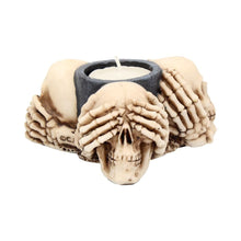 Load image into Gallery viewer, Three Wise Skulls Tealight Holder 11cm Skull Candle/Tealight Holder