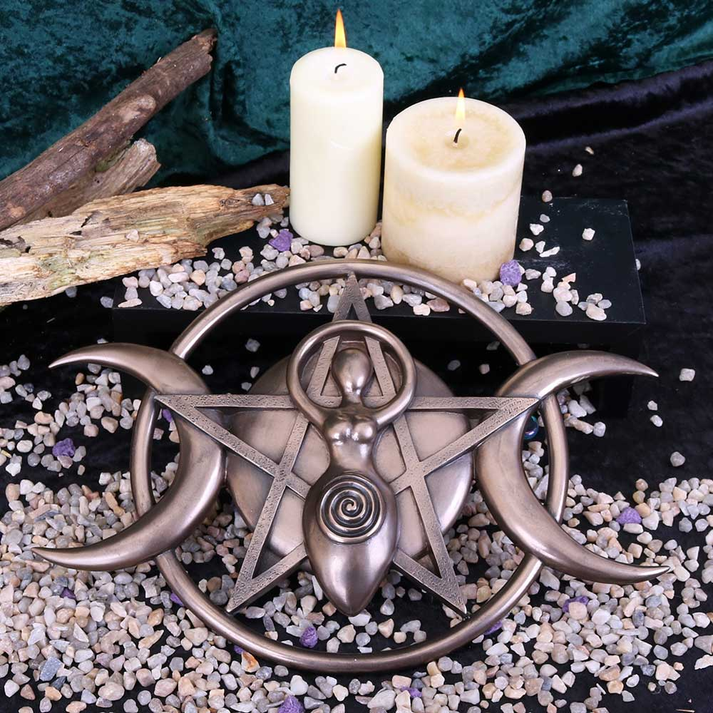 Triple Moon Goddess Plaque 30cm Witchcraft & Wiccan Wall Hanger