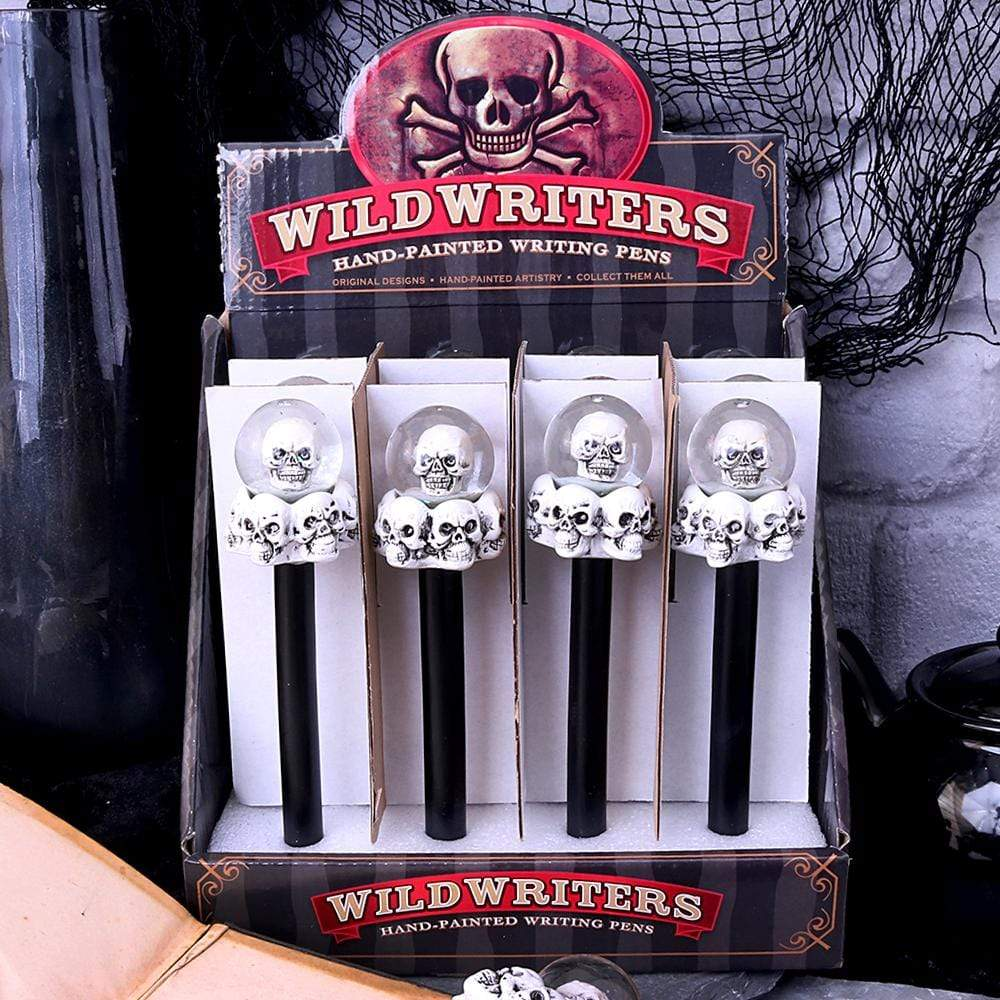 Wild Writers Skull Water Ball Pen16cm (Set Of 12) Skull Pen