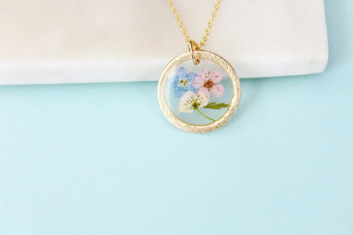 Pastel Flower Necklace in Gold