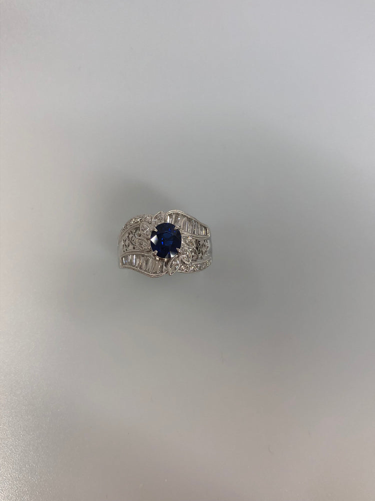 PT900 サファイヤ リング GIA Cambodia RoyalBlue