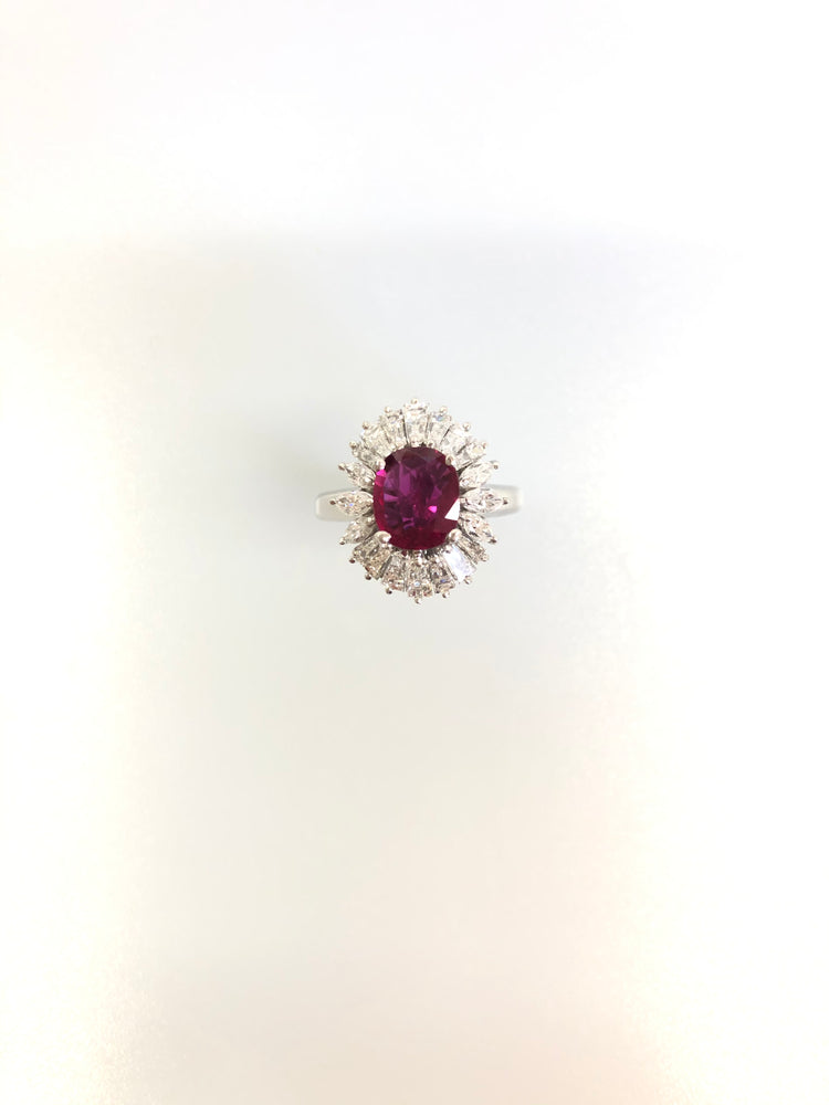 PT900 ルビー リング GIA  HEAT  Purplish red  Thailand