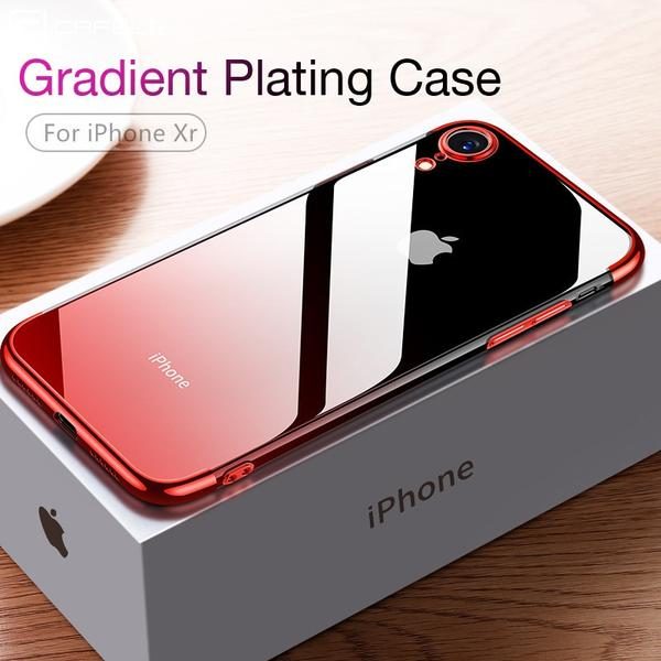 Gradient Plating Transparent Silicone Aurora Soft TPU Case for iPhone