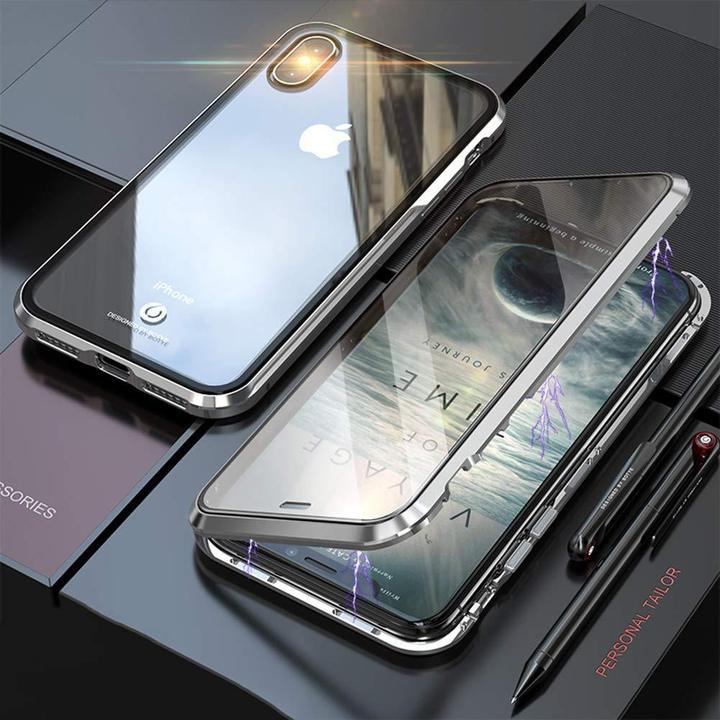 For iphone Magnetic Adsorption Transparent Glass Cover Phone Case - BUY 2 FREE SHIPPING