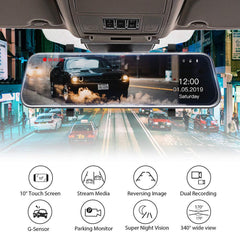 10''  Touch Mirror Dash Camera for Cars -Dual 1080P Dash Cam Front and Rear Stream Media Touch Screen DVR with  G-Sensor Parking Monitor