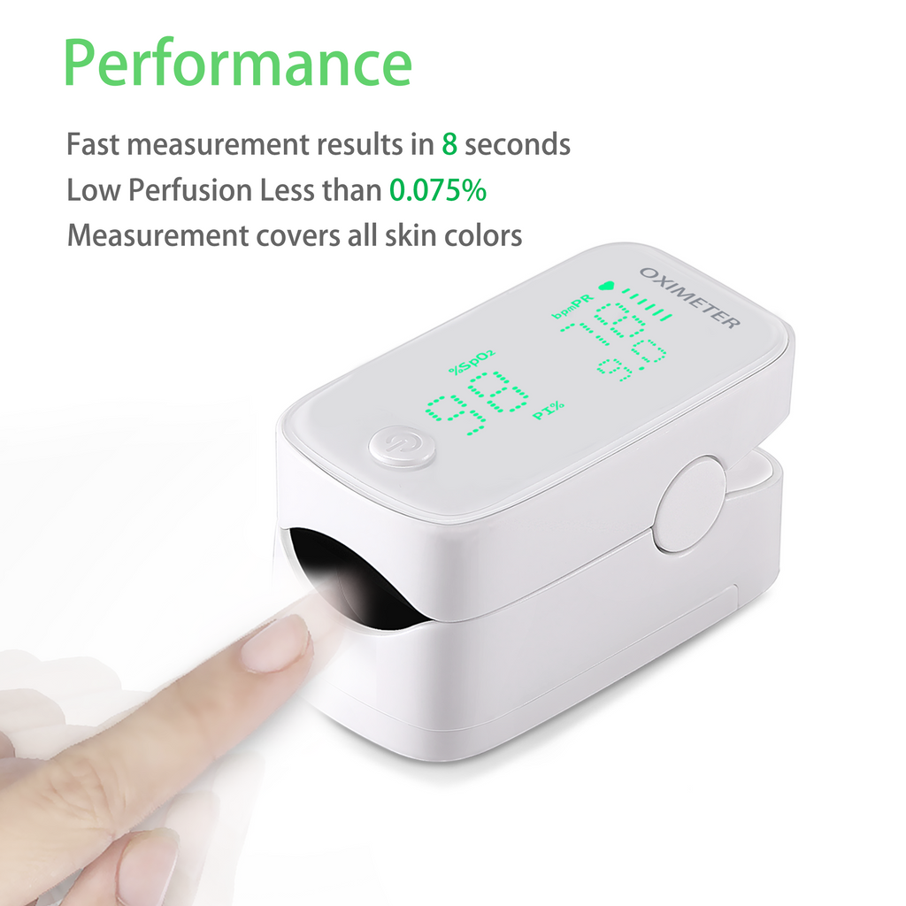 Portable Oximeter with Lanyard and Batteries-Pulse Oximeter Fingertip, Blood Oxygen Saturation Monitor, Heart Rate and Fast Speed O2 Reading Oxygen Meter, Large LED Display