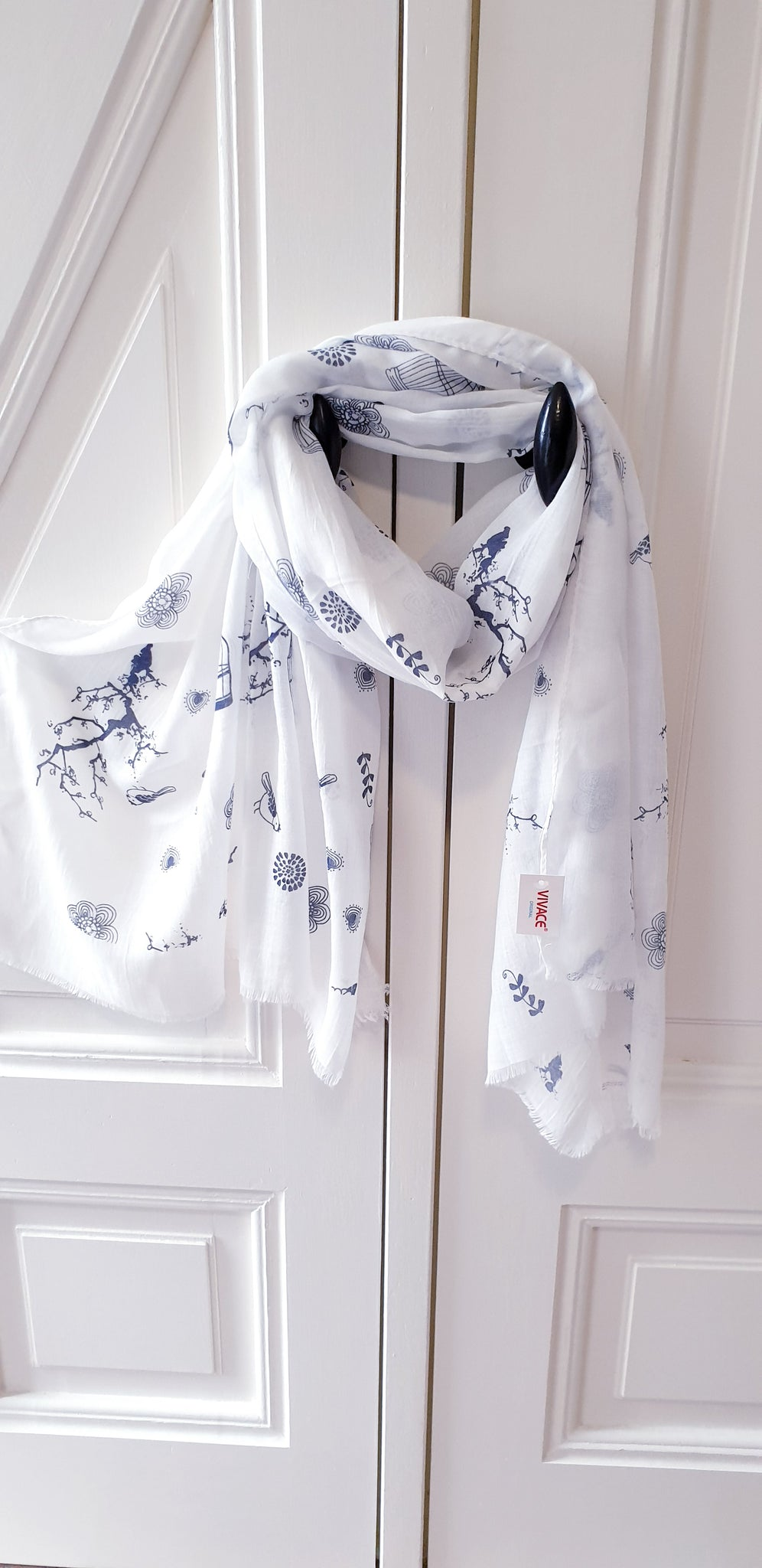 VIVACE Birds Scarf White And Navy (Limited Stock)