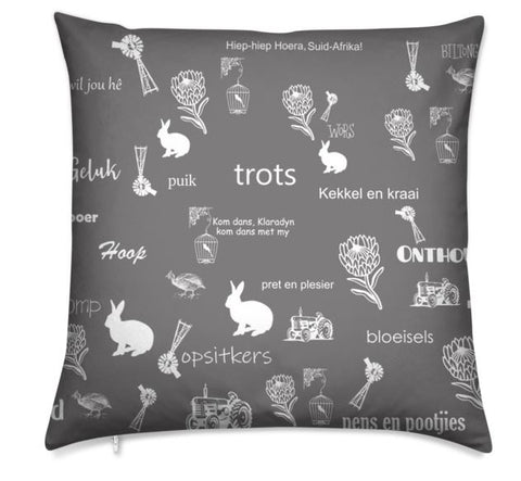 Afrikaans Grey Cushion Cover