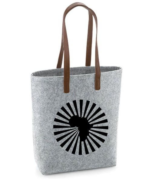 Africa- Felt Bag With Leather Handles