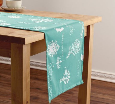 Afrikaans Mint Green Table Runner