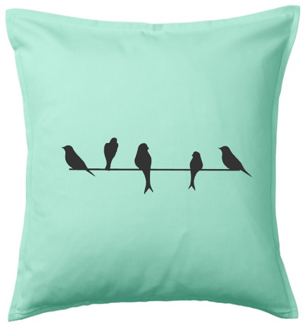 Birds on Telephone Line Cushion Cover