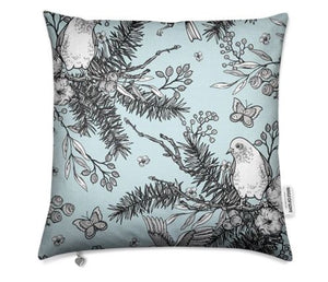 Birds With Blue Background Cushion Cover