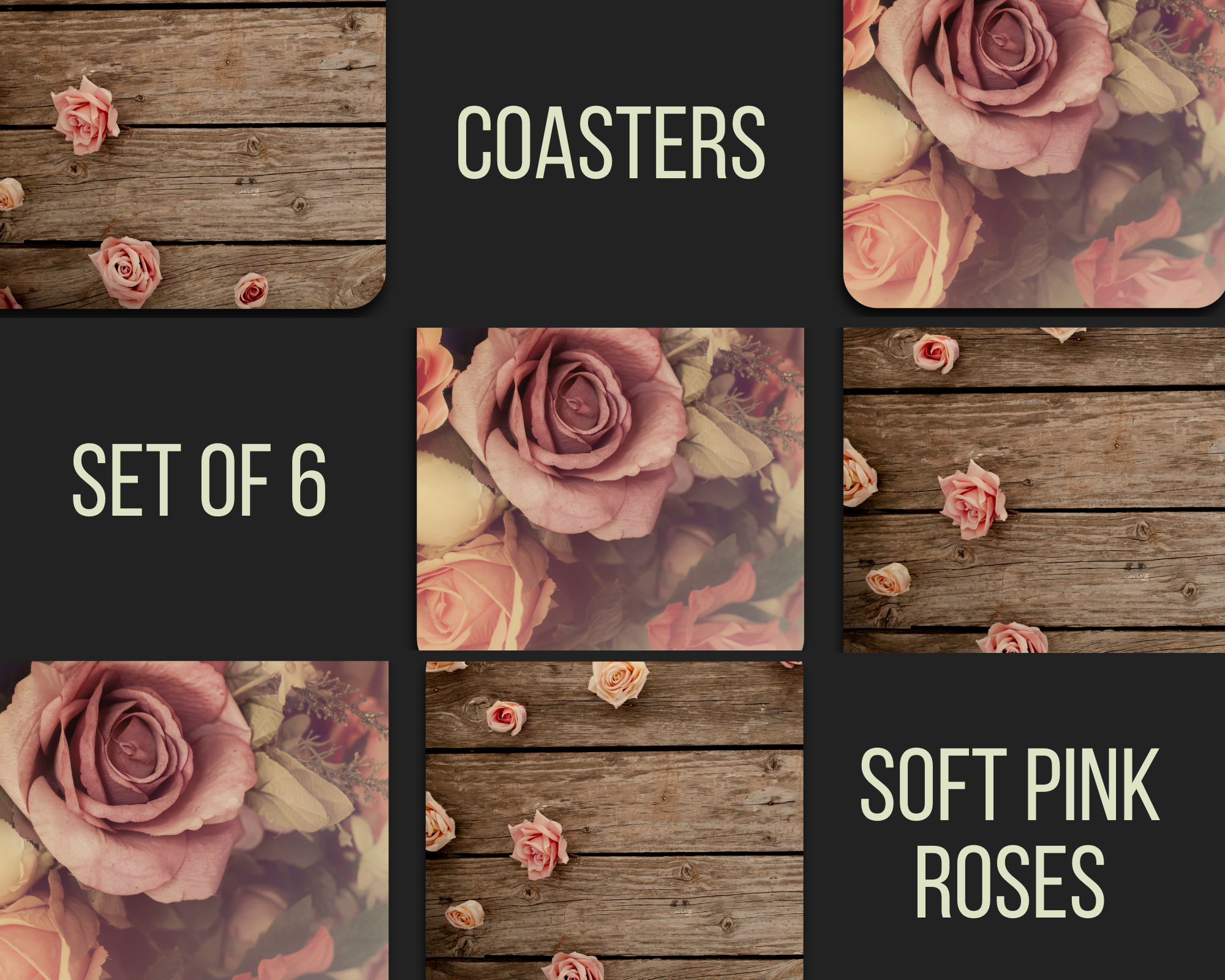 Soft Pink Rose Coasters (Set of 6)