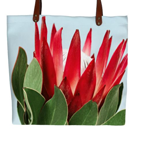King Protea Handbag With Blue Background (Tote)