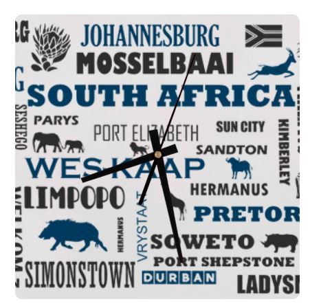 South African Cities, Provinces Names Wall Clock