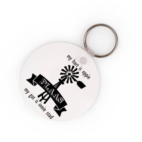 My Hart Is Oppie PLAAS, My Gat Is Innie Stad Keyring - Available In 3 Shapes