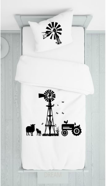 Farm and Windmill Bedcover
