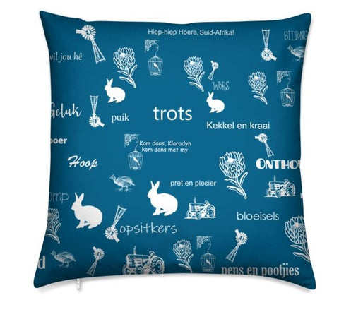 Afrikaans Blue Cushion Cover