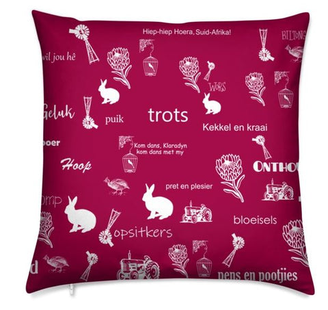 Afrikaans Maroon Cushion Cover