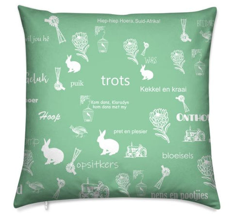 Afrikaans Mint Green Cushion Cover
