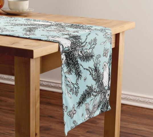 Birds With Blue Background Table Runner