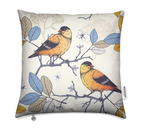 Birds Yellow Cushion Cover