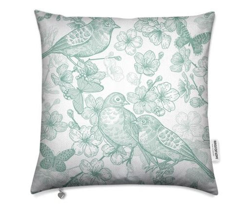 Birds Mint Green Cushion Cover