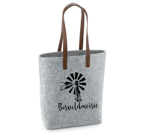 Bosveldmeisie - Felt Bag With Leather Handles