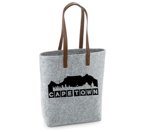 Cape Town- Felt Bag With Leather Handles