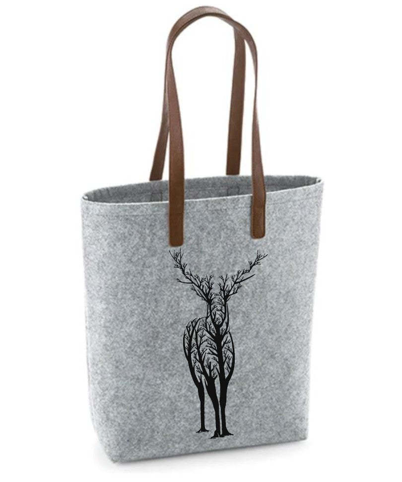 Deer- Felt Bag With Leather Handles
