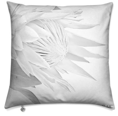 Grey White Protea Cushion Cover