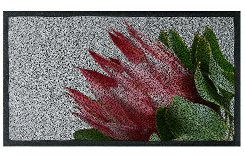 Pretty Pink Protea Doormat - Black