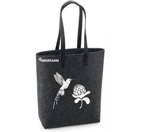 Hummingbird Protea - Felt Bag With Leather Handles