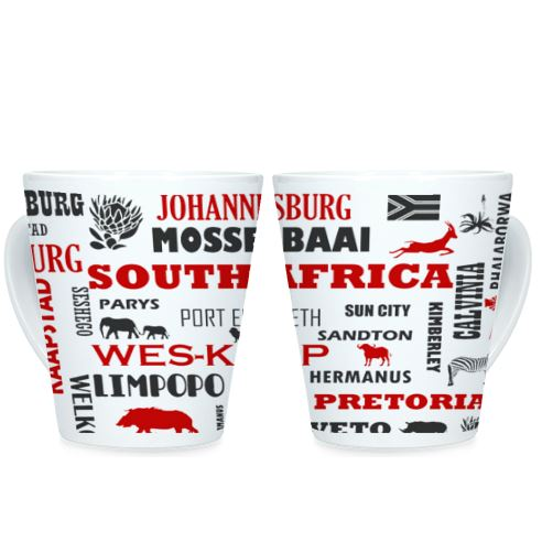 South African Cities/Provinces - Red - Conical Mug (1 Mug)