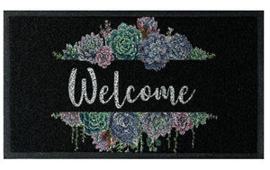Succulent Welcome Doormat - Black