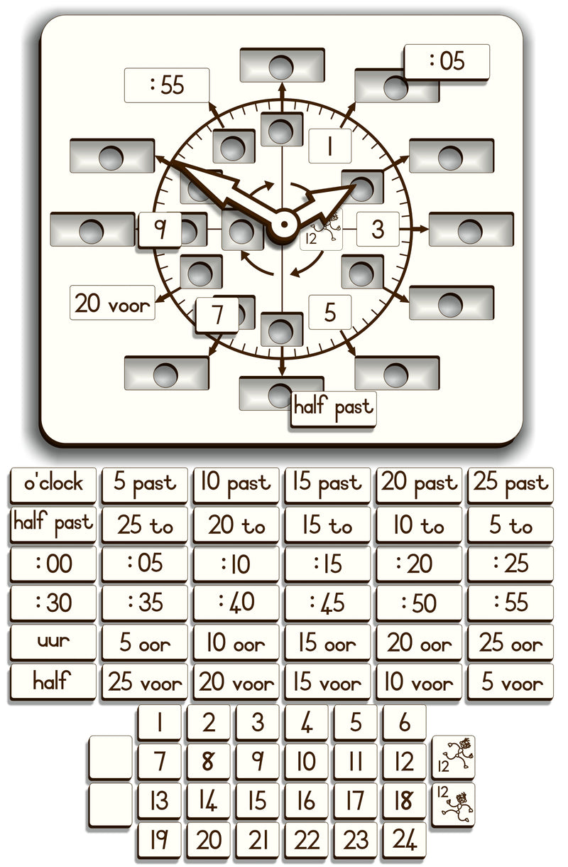 Wood Clock–Learner Analogue/Digital Insert(Afr./Eng.) - FleaWeb