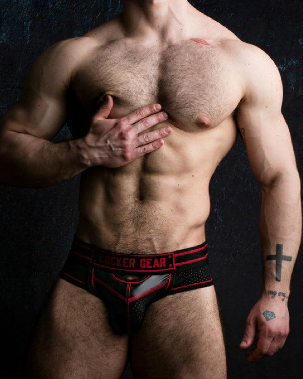 Bottomless Brief with Front Opening - Red