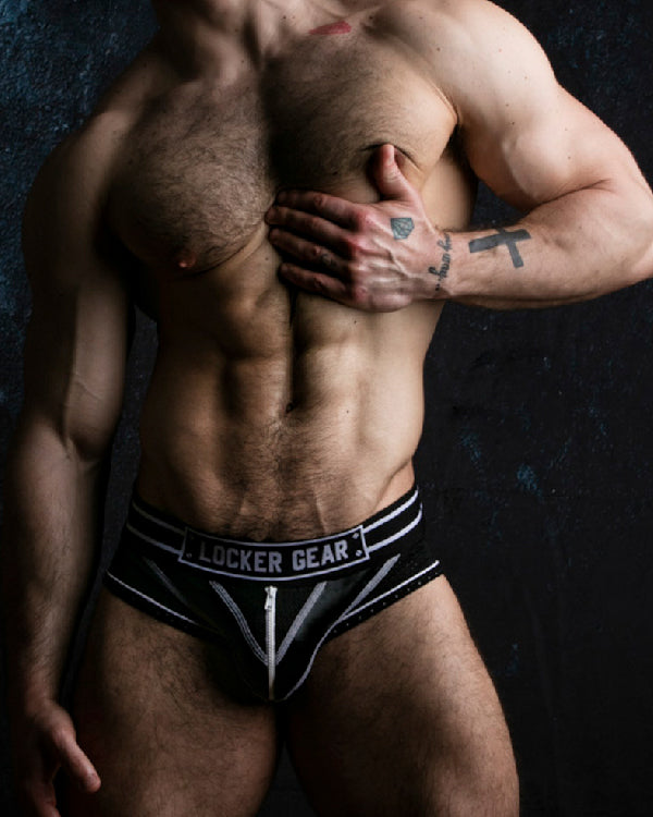 Bottomless Brief with Zipper - White