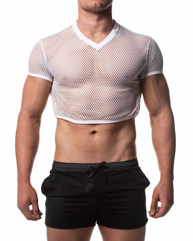 Mesh Crop Top - White