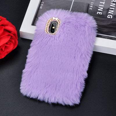 Luxury Warm Rabbit Fur Plush diamond Phone Case X 6 6S Plus 7 7Plus 8 Plus - Trendy Cyborg