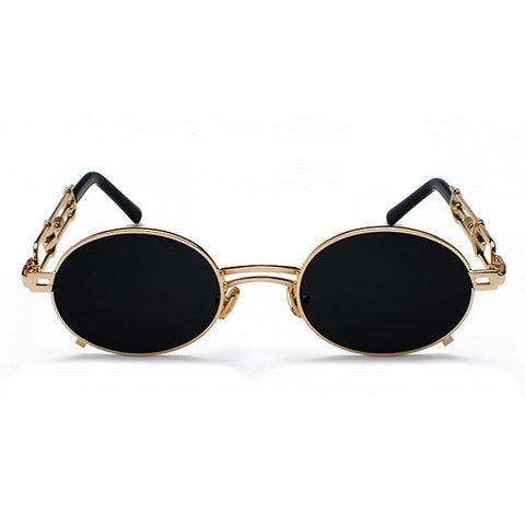 [STYLE #7100] GOLD & BLACK FRAME OVAL LENS SUNGLASSES