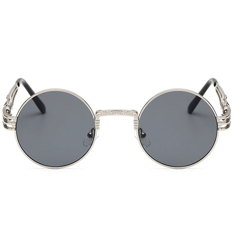 [STYLE #8088] SILVER & BLACK FRAME ROUND LENS SUNGLASSES