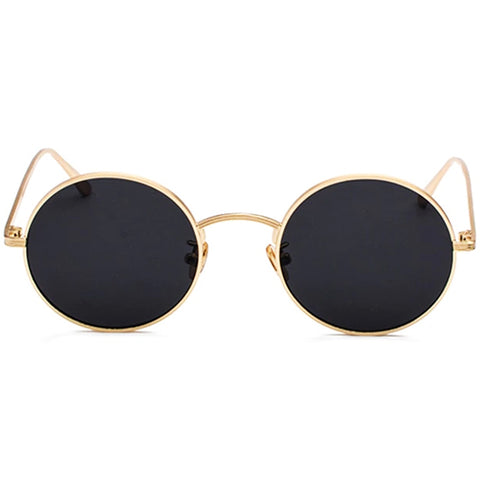 [STYLE #5200] GOLD & BLACK THIN FRAME ROUND LENS SUNGLASSES
