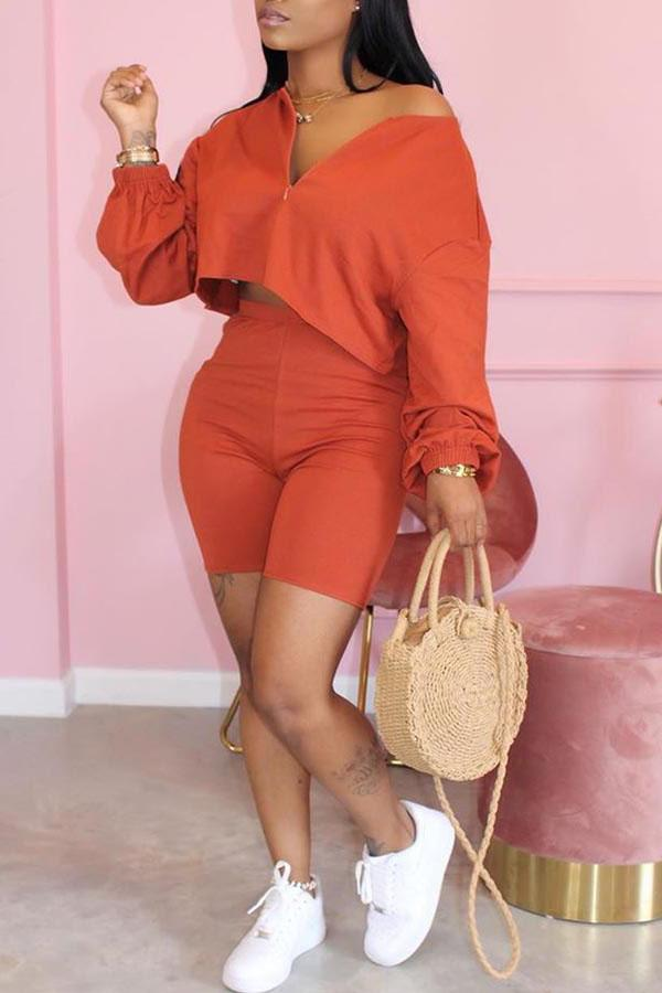 Long Sleeve Solid Color V Neck Casual Short Set
