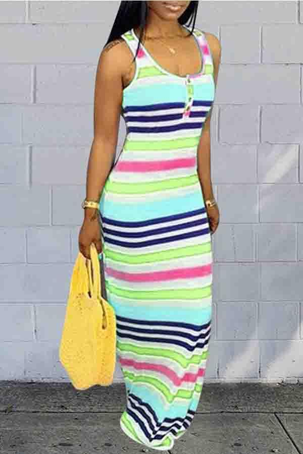 Sleeveless Striped Round Collar Casual Wear Dress